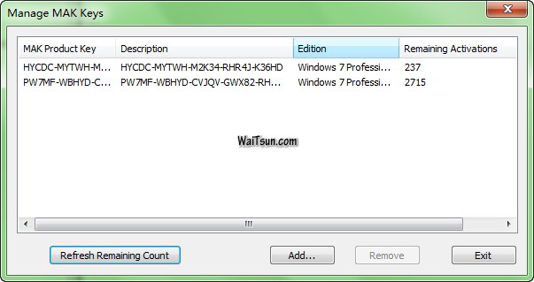 Windows 7专业版和企业版MAK激活密钥