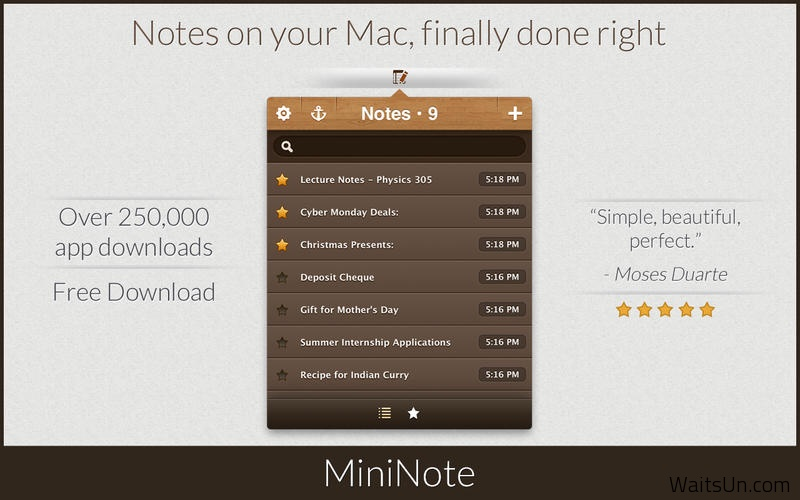 MiniNote Pro 4.8 破解版 – Mac上免费的优秀笔记记事软件之一
